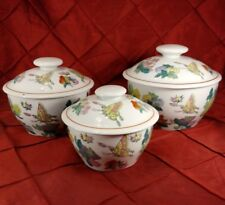 Covered Bowl Fine Asian Hand painted floral Butterfly 3 Lidded Bowls