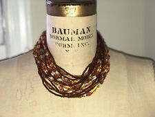 Vintage Antique 14 Strand Germany Amber Color Art Glass Bib Choker Necklace