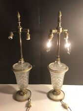 A Pair Of Antique Empire Bronze, Crystal And Mother Of Pear Lamp / Austria 1920
