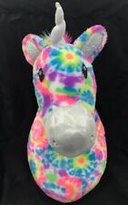 Retired Justice Plush Unicorn Head Wall Mount Decoration Rainbow Tie Dye Sparkly