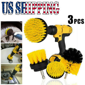 Yellow Drill Attachments 3x Drill Brush Power Scrubber For Carpet Tile Cleaning