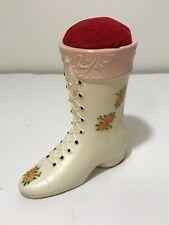 Vintage Japan Viking Ceramic Victorian Shoe Sewing Tape Pin Cushion Measurer