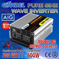Giandel Power Inverter 12v-240v 300w/600w Pure Sine Wave USB Caravan Boat