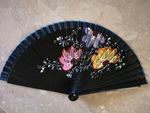 Spain Flamenco Hand Fan Case Fan Folding Fan Wooden B Black
