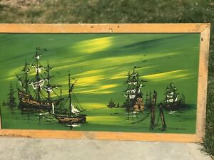 Vintage 70s Nautical Ship Drip Oil Painting Mid Century Modern Signed Framed