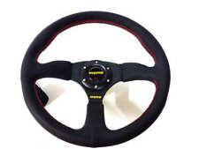 "350mm Sport Rally 2"" Deep Dish Black Leather Red Stitch Car Steering Wheel"