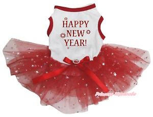 Happy New Year White Cotton Top Red Bling Star Tutu Pet Dog Puppy Cat Dress Bow