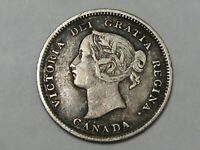 Better-Grade 1892 Silver Canadian 5 Cent Coin. Queen Victoria.  #43