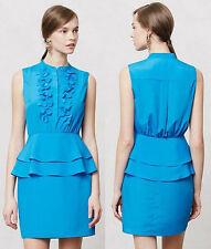 ANTHROPOLOGIE Sachin+Babi NWT Ruffled Sapphire Dress Blue Turquoise Sz 2 XS $168