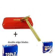 Exclusive Monarch Double Edge Shaving Safety Razor, Free 50 Blades golden color
