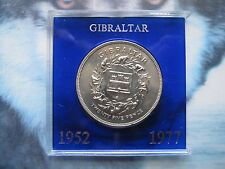 Gibraltar 1952 - 1977 QE II silver jubilee Crown 25 New Pence coin UNC Tubé