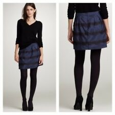 J. Crew Silk Lace Marvelle Midnight Blue Metallic Lace Pleated Tulle Mini Skirt