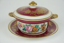 Antique 19th century French Paris Tureen, handpainted flowers decor