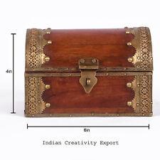 Indian Wooden Brass Box Brass Wooden Vintage Trinket Antique Hand Carved Engrave