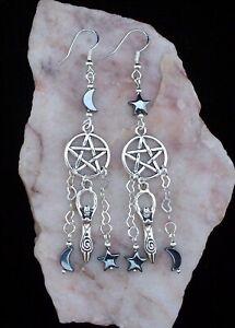Dream Catcher Pentagram,Hematite Moon & Stars,7cm Long, 925 Silver Hook Earrings