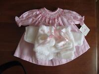 "SALE NO DOLL DOLL CLOTHES LAYETTE +SMOCKED DRESS FOR 15"" TINY T, BETSY W"