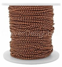Ball Chain Spool - 30 Feet - Antique Copper Color - 1.5mm Ball - 10 Yards Bulk