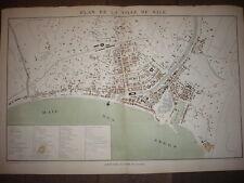 GRAND PLAN LITHOGRAPHIE ORIGINAL 1886 DE LA VILLE DE NICE