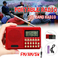 Portable Digital FM/AM/SW Radio Speaker USB TF Card Mp3 Player Rechargeable  ^