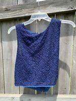 Rachel Roy Blue Lace Semi Sheer Sleeveless Blouse Tank Top 4 Small Cropped Shirt