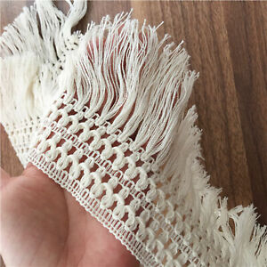 Beige Tassel Fabric Trim Cotton Fringe Edge Rustic Ribbon Trim for Home Craft