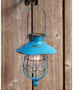 Blue Rustic Hanging Solar Lantern Warm White LED Light Outdoor Yard Pathway