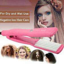 UK Ceramic Titanium Hair Crimper Slipnt Waver Curler Wet Dry Salon Crimping Per