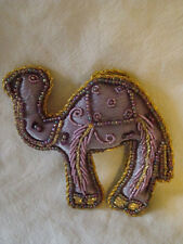 PURPLE AND GOLD CAMEL SHAPED WALL HANGING OR CHRISTMAS DECORATION HANDMADE INDIA