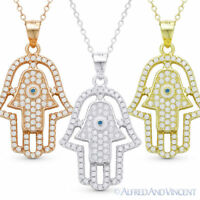 Double Hamsa Hand of Fatima Evil Eye Luck Charm Pendant Necklace Sterling Silver