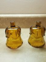 2 Amber Glass VOTIVE CUP Candle Holder Peg Bottom HOMCO Vintage Tulip design
