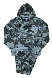 CHAMPION Mens 2pc Set Hoodie Sweatshirt Jogger Pants Camo Script Logo NWT LARGE