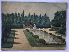 Tableau Peinture Aquarelle Sur Papier Paysage Jardin Paysage Fontaine.1936.