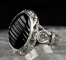 Onyx Black Stone Turkish 925 Sterling Silver Mens mans ring us ALL SİZE