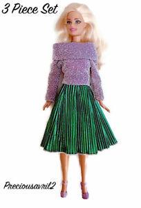 New Barbie doll clothes 3 piece set purple sparkle jumper pleated skirt shoes