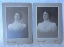 Antique PAIR Cabinet Cards Lady Pince-Nez Lace Fob Haskell North Abington MAss