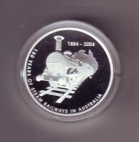 2004 $5 1oz Silver 150 Years Of Steam Railways In Australia Proof Coin