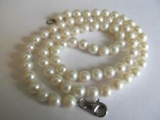"""6mm White Cultured Pearl Necklace  18""""   Sterling Silver Clasp  Knotted Thread"""