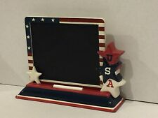 3 Pc Americana USA Star Ceramic Tower Patriotic Decor Chalk Board, Stand & Chalk