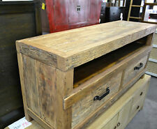 Industrial Rustic Elm Wood  Entertainment T.V Unit  140cm long with 2 Drawers