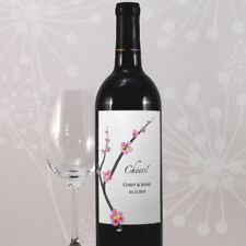 24 Cherry Blossom Personalized Wedding Wine Bottle Labels