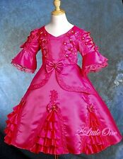Satin Hot Pink Vintage Victorian Dress Pageant Fancy Party Costume Sz 2T-3T #002