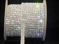 2-row Sparkle Crystal Rhinestones Chain Close Sew On dress custom applique 1y