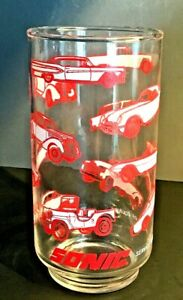 """SONIC DRIVE IN Collectible Clear Glass """"Service ~ Speed Of Sound"""" 1950 Cars"""