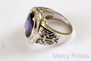 Men's Oval Bishop Clergy Ring 925 Sterling Silver (Style 005) Purple