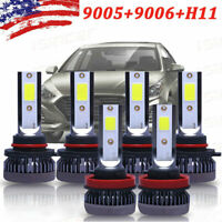 6PCS 9005 9006 H11 Combo COB LED Headlight Fog Bulbs 6000K White High Low Beam