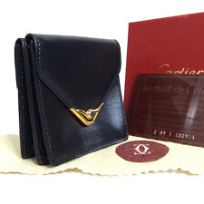 Auth Cartier Sapphire Line Coin Purse Wallet Navy Black Leather Vintage Italy in