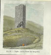 Stampa antica TEGLIO veduta dell' antica torre Valtellina Sondrio 1896 Old Print