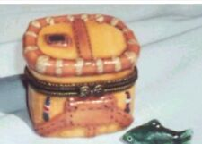 FISHING CREEL with FISH TRINKET -Porcelain Hinged-Box..  FISHERPERSON GIFT