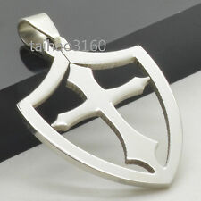 Stainless Steel Vintage Pendant Cross inside Shield Dog Tag Pendant DA065