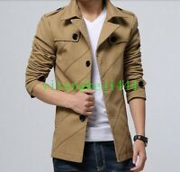 Hot Fashion Men's Slim Lapel Cotton Trench Coats Korean Casual Jacket New M-4XL
